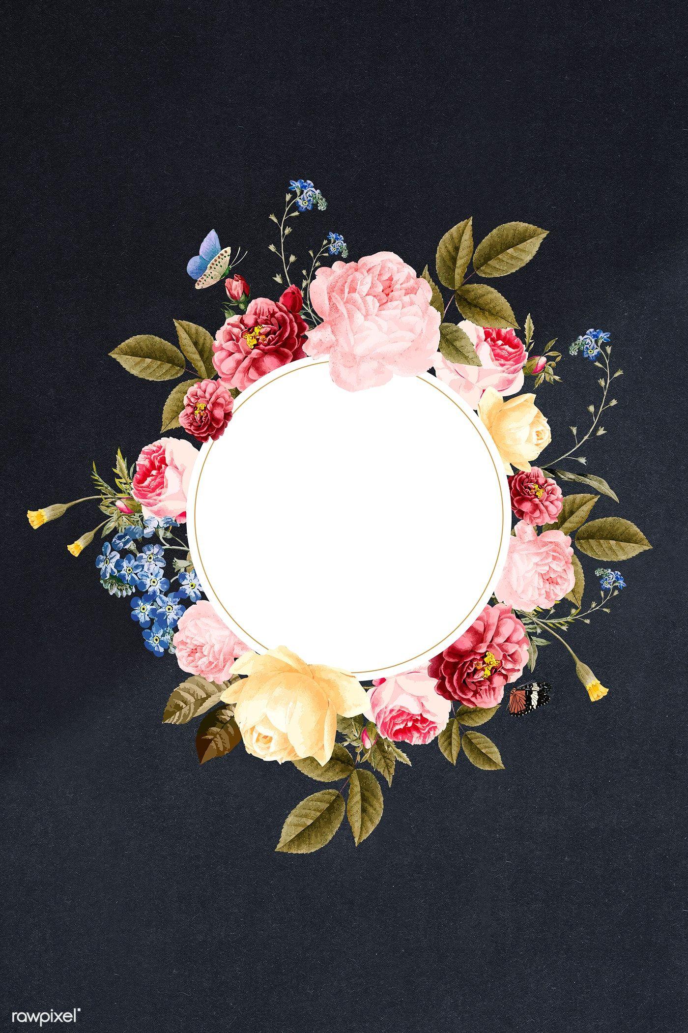 Download premium illustration of Floral round frame on a