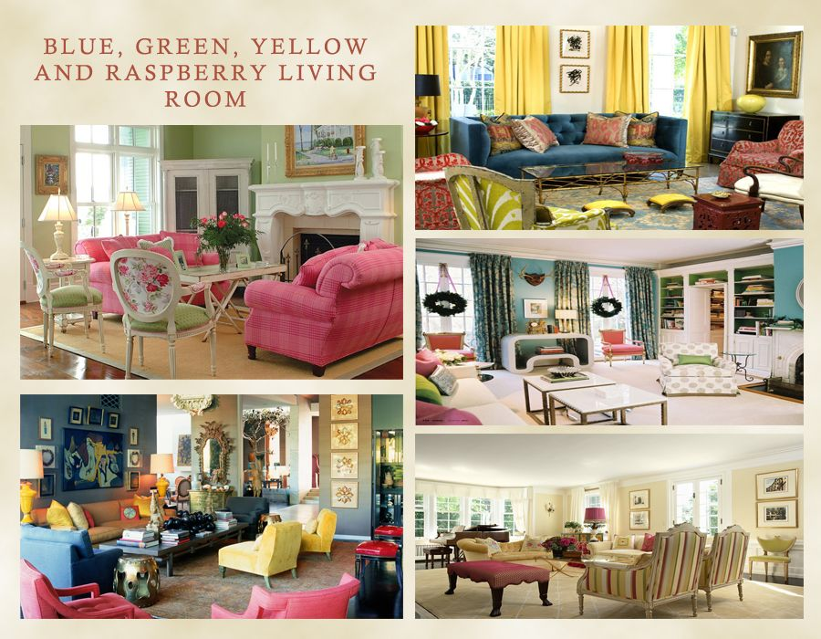 Raspberry Bedroom Ideas: Blue, Yellow, Green And Raspberry Living Room