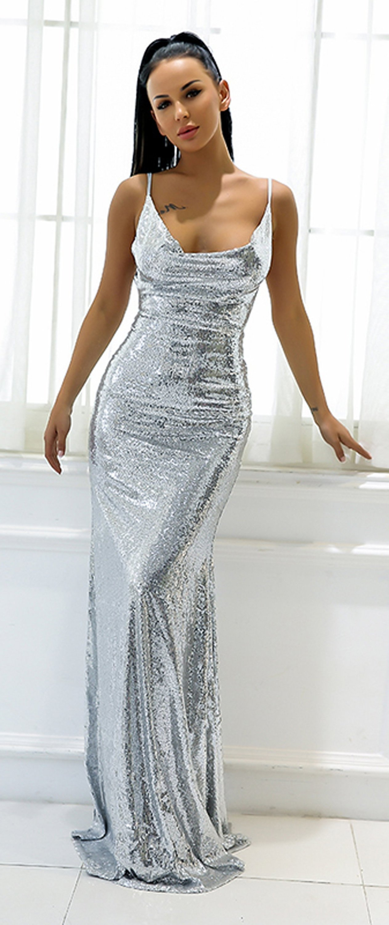 90b2780341b ... Sequin Silver Tight Fitted Slit Floor Length Mermaid Maxi Gown Dress  2018 to Wear to a Wedding as a Guest Cocktail Party Graduation Evening -  www.