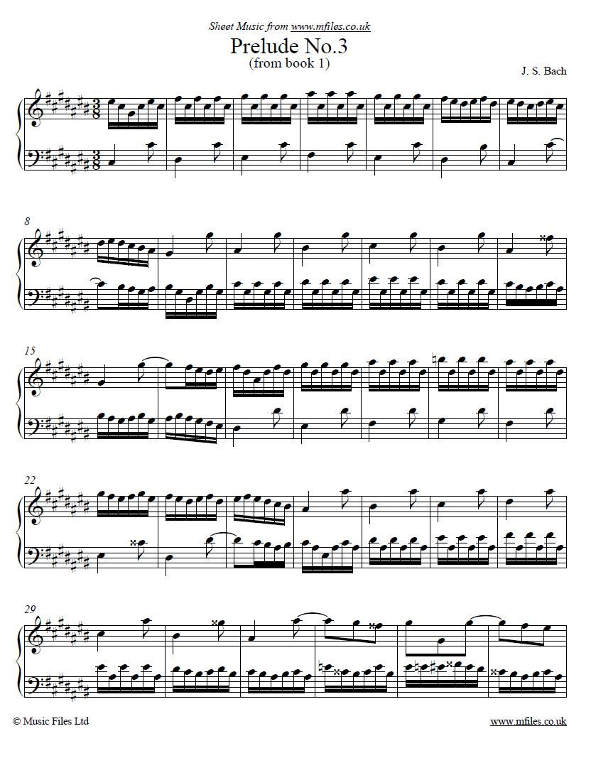 Johann Sebastian Bach Prelude No 3 From Book 1 Of The Well