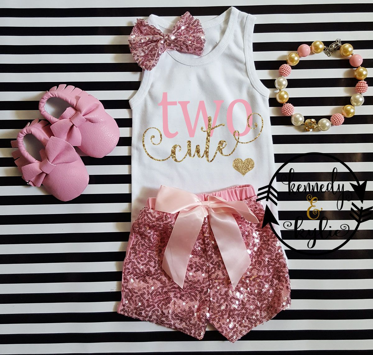 Pink and Gold Two Cute Shirt With Pink Sequin ShortsLet us