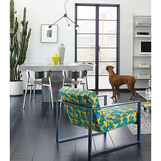 Cement Table; Brushed Metal Chairs