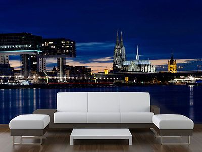 Fototapete Köln bei Nacht Tapete Kleistertapete L 300 x 210cm NEU TOP