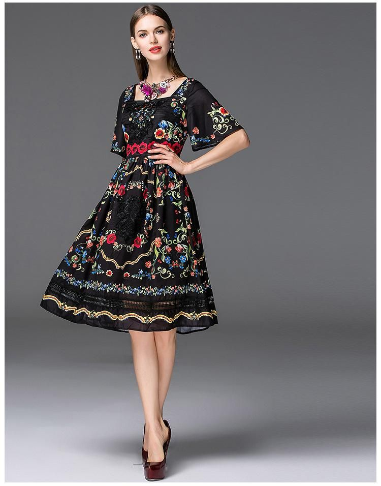 93a6e11f788 Dress Vintage Splice Printed Floral Black Casual Sleeves Short ...