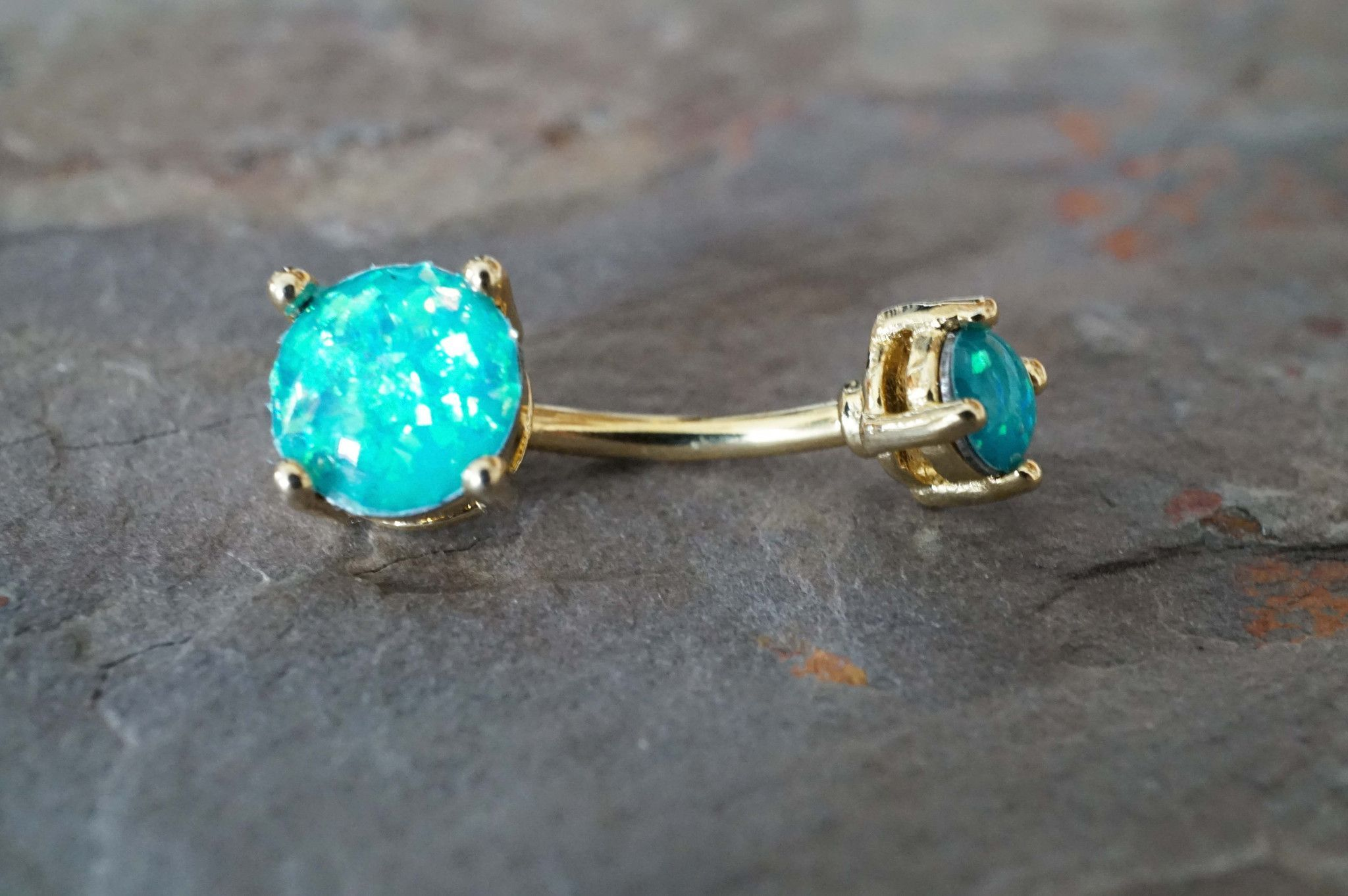 Long belly piercing  Asian Male Long Hairstyle  Opal belly ring Belly button and Teal