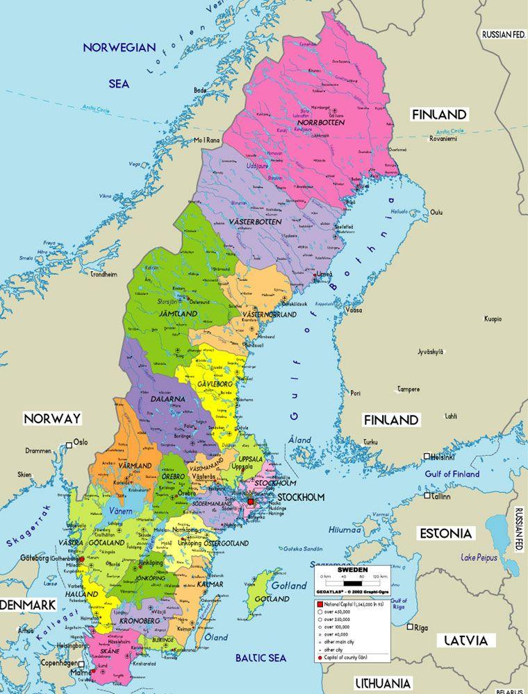 Sweden Map | sweden in 2019 | Sweden map, World political map, Sweden