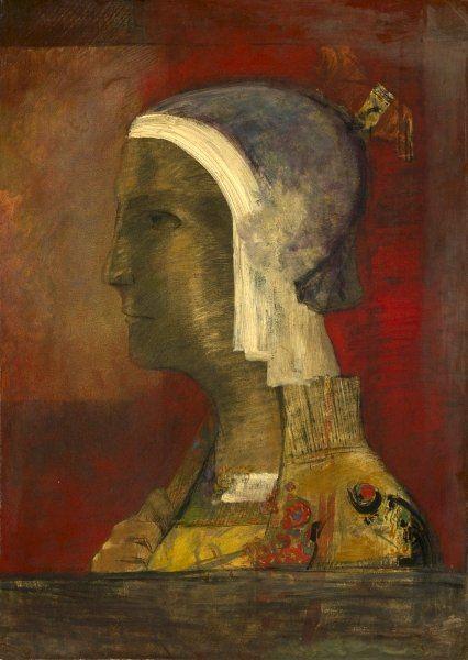 Redon, Odilon (1840-1916) - 1890c. Symbolic Head