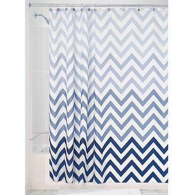 Blue Ombre Chevron Shower Curtain Fabric Modern Zigzag Bathroom Decor Chevron Shower Curtain Blue Bathroom Decor Curtain Fabric Modern