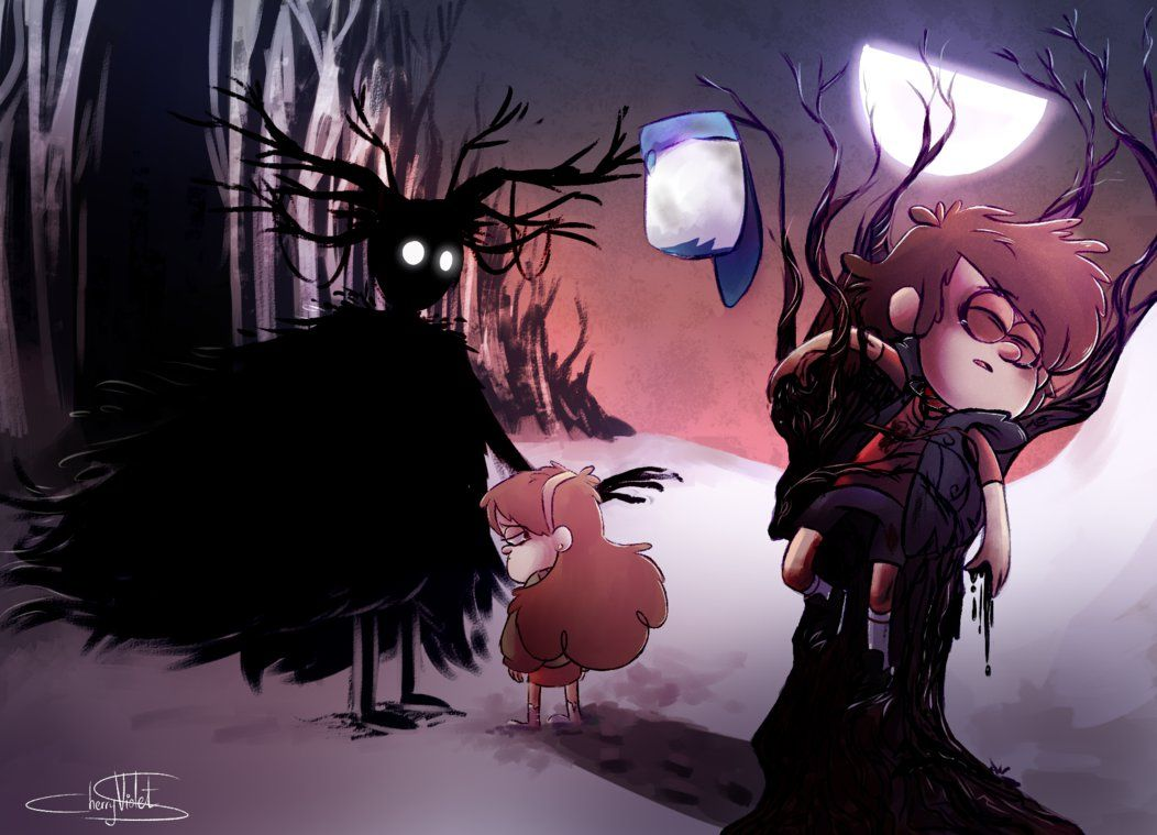 They are now both lost... by CherryVioletS on DeviantArt over the garden wall and gravity falls cross over! <3