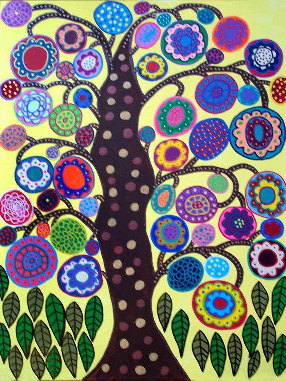 Kerri Ambrosino Art PRINT Yellow Tree of Life Mexican Folk ...