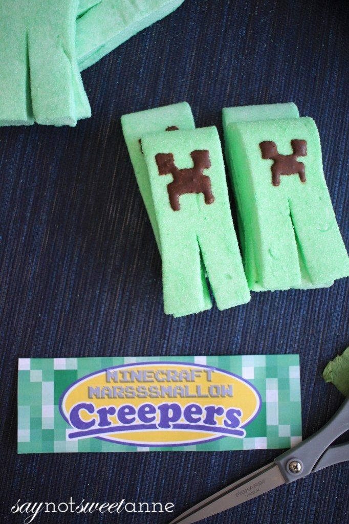 Dynomite Creeper Marshmallow Peeps are easy to make, and sure to blow you away! Free printable labels make these a perfect Peep treat for Easter, Halloween, or Minecraft theme parties! | saynotsweetanne.com http://saynotsweetanne.com/2013/minecraft-marshmallow-creeper-peeps/