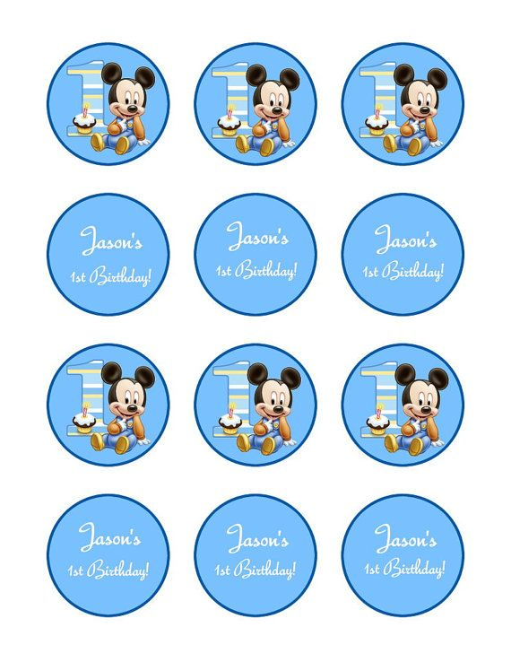 Cupcake Topper Mickey Mouse 1st Birthday Tag Sticker 2 inch round