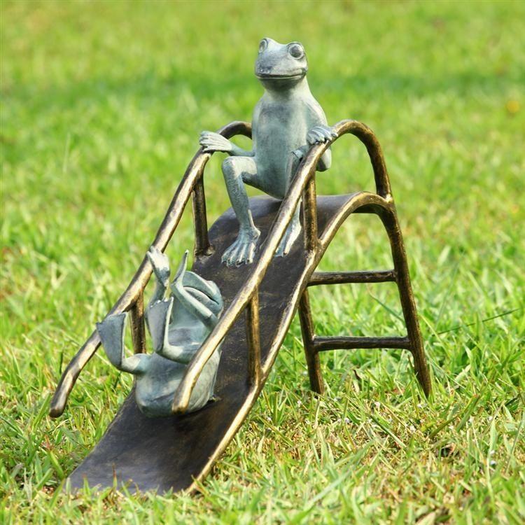 Sliding Frogs Whimsical Metal Garden Pool Sculpture,18''H.