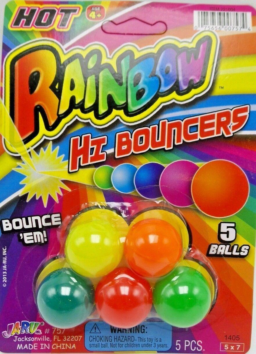 Super High Bounce Balls Minis 5pc Hi-Bouncers Kids Ages 4+ Ja-Ru New