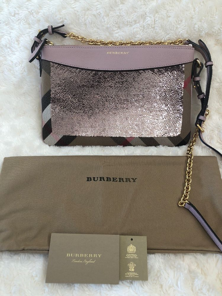 bd5f2ef8e3b4 Authentic Burberry Peyton House Check   Sequin Crossbody or Clutch Bag Pink  NWT