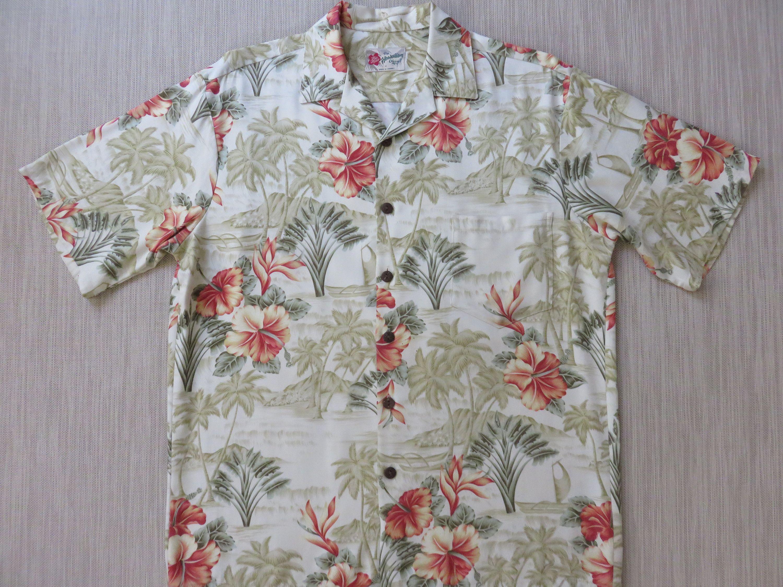 2ffc88b6 Mens Hawaiian Shirt HILO HATTIE Rockin' Aloha Shirt Tropical Island  Paradise Resort Wear Sailboat Camp - M - Oahu Lew's Shirt Shack by  OahuLewsShirtShack on ...