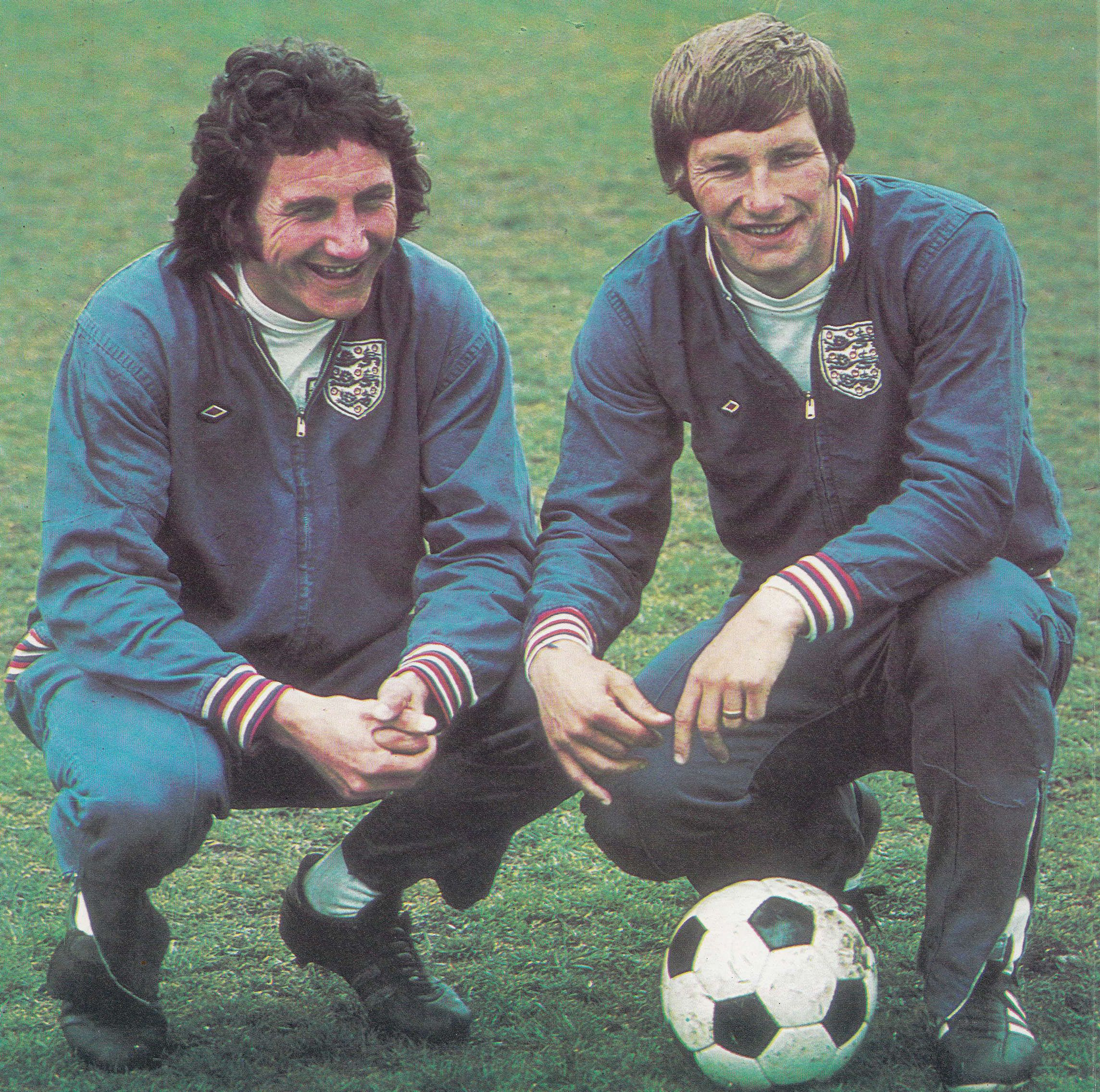11th May 1974. Derby County centre back partnership; Roy McFarland and Colin Todd reunited for England following the decision to end Todd's two year ban for failing to go on tour with the Under-23 squad.
