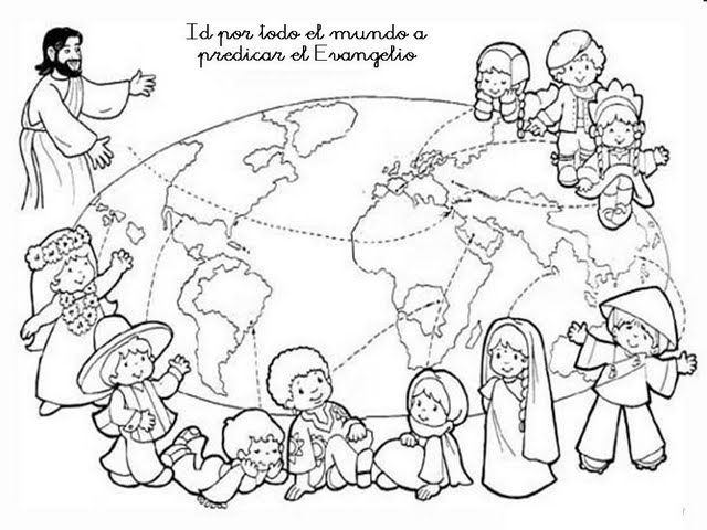 Evangelizing the world - Spanish text coloring page bible page ...