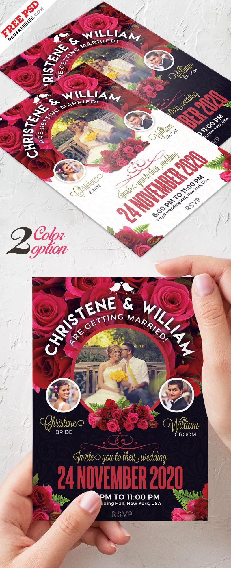 Wedding Invitation Card Template PSD Set   Pinterest   Wedding ...