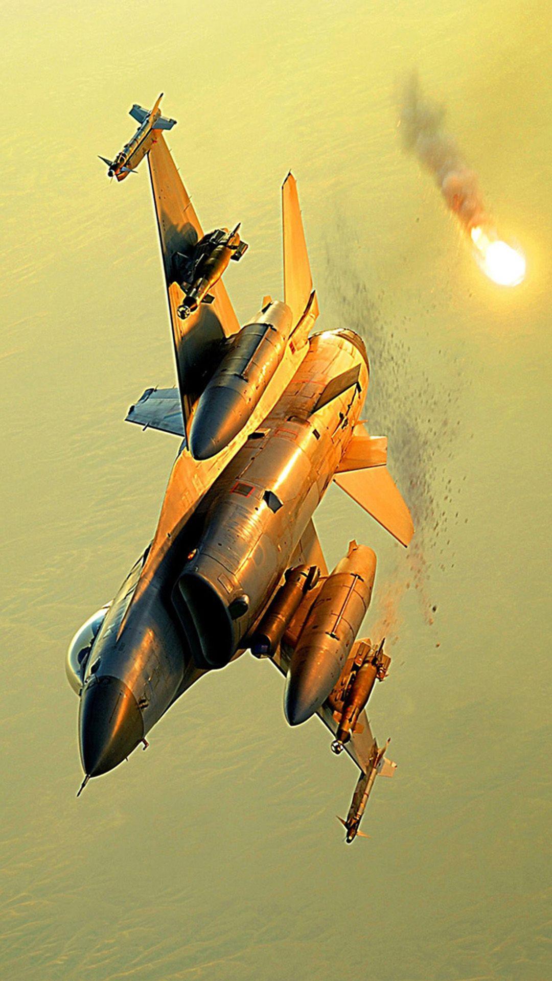 Belgian F16 deploys flares Fighter, Plane wallpaper