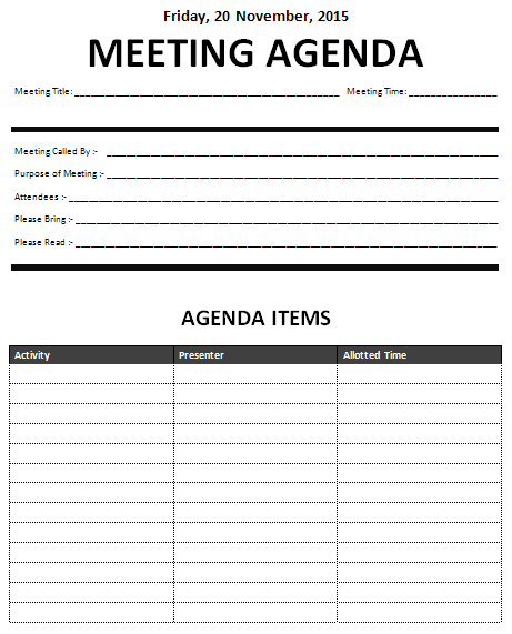 Meeting Agenda Template Free Meeting Agendas Templates  Meeting Agenda Template Download Page .