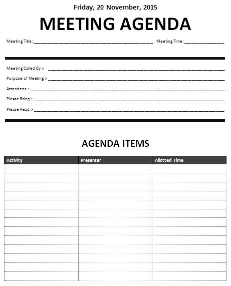 agenda meeting example