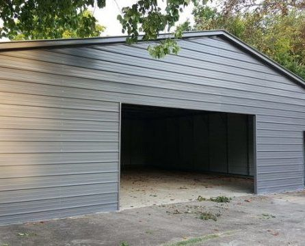 510 Beige Garage With Vertical Roof Elite Metal Structures Metal Shop Building Agricultural Buildings Metal Buildings