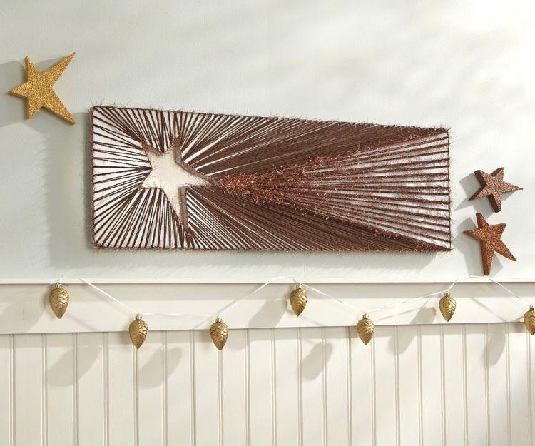Fadenbilder mit n geln fallender stern weihnachtsdeko selber machen art string christmas - Fadenbilder selber machen ...