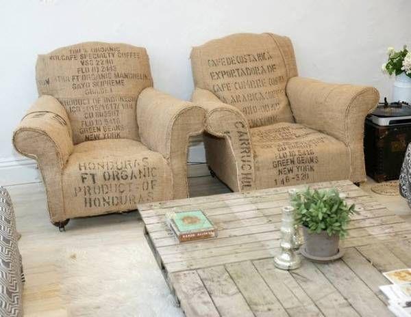 Con sacos de caf se han tapizado esta pareja de sillones - Sillones antiguos tapizados ...