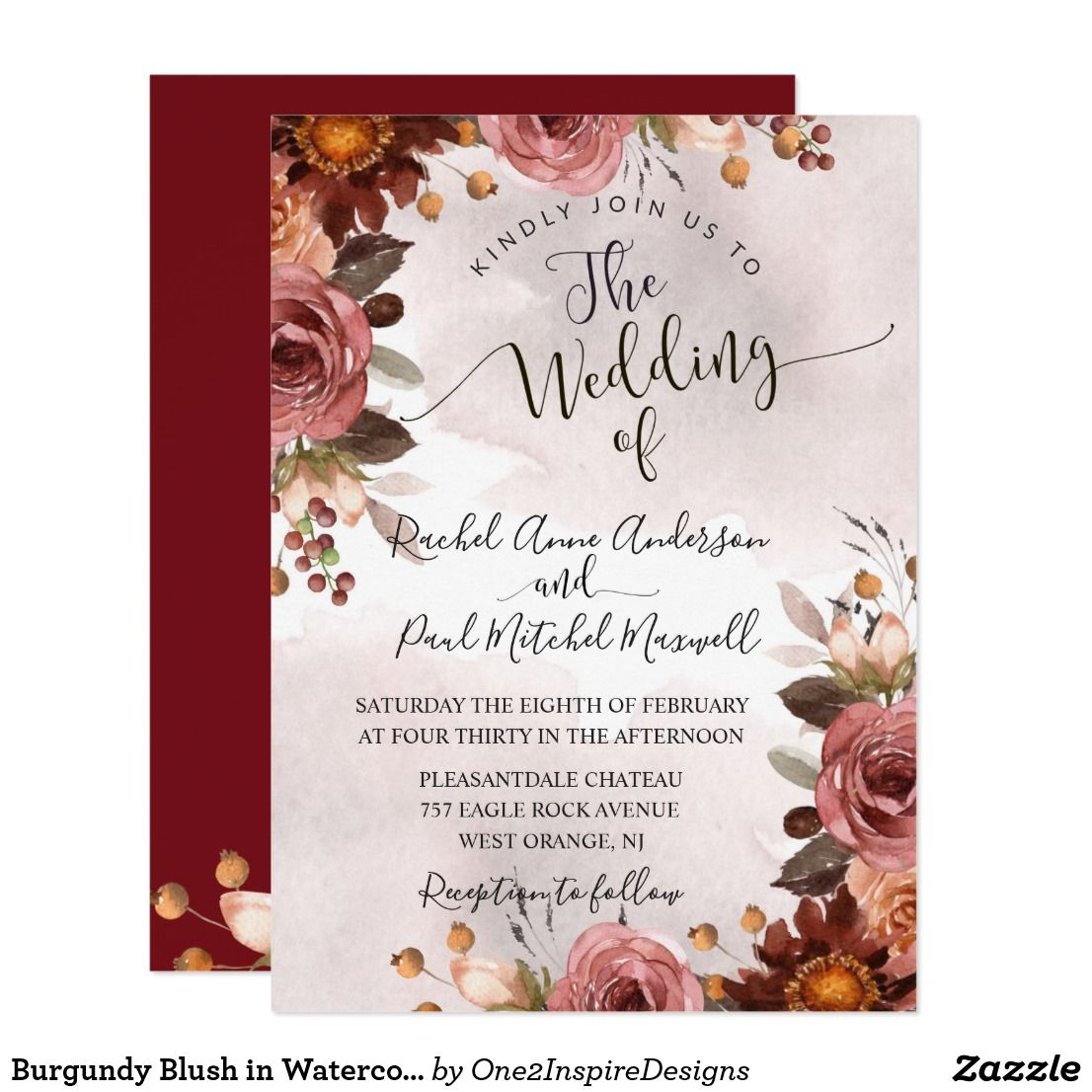 Burgundy Blush In Watercolor Floral Wedding Invitation Gorgeous