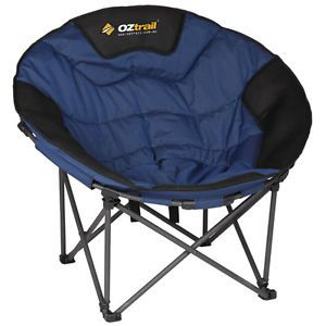 Superbe OZTRAIL MOON CHAIR JUMBO 150KG LIMIT OVAL ROUND CAMP OUTDOOR SEAT