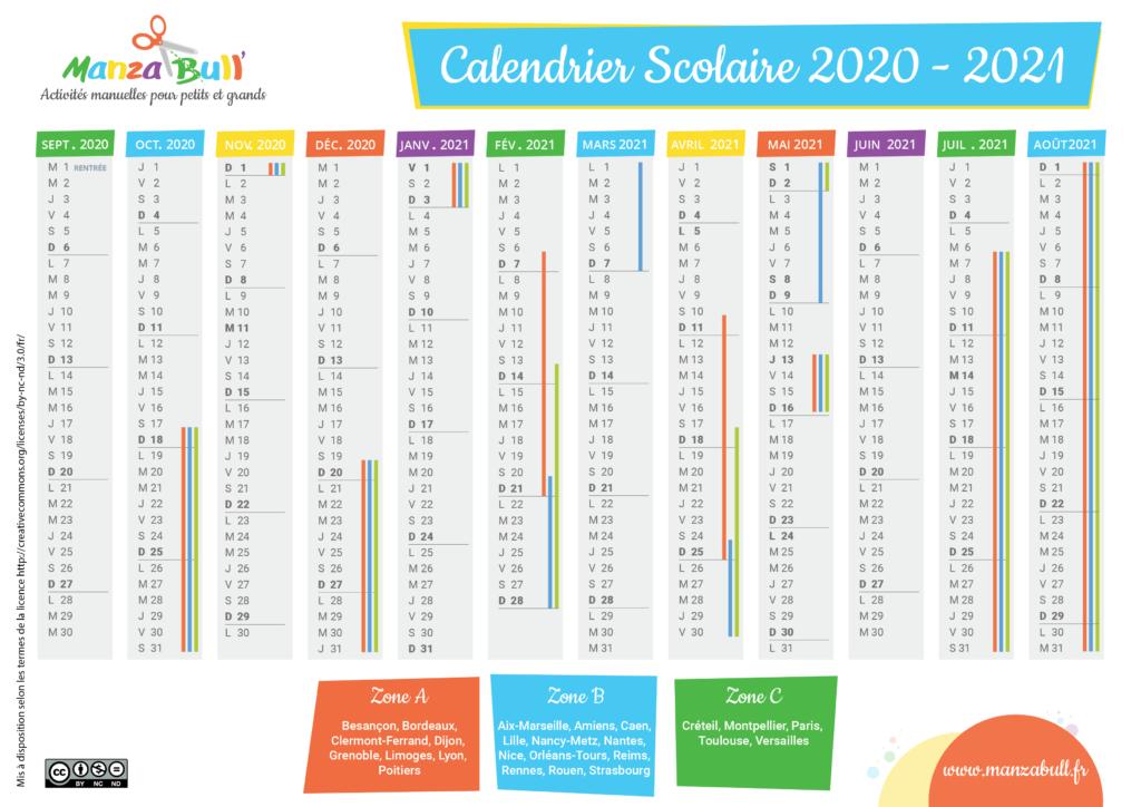 Calendrier scolaire 2020   2021 à imprimer france | Calendrier