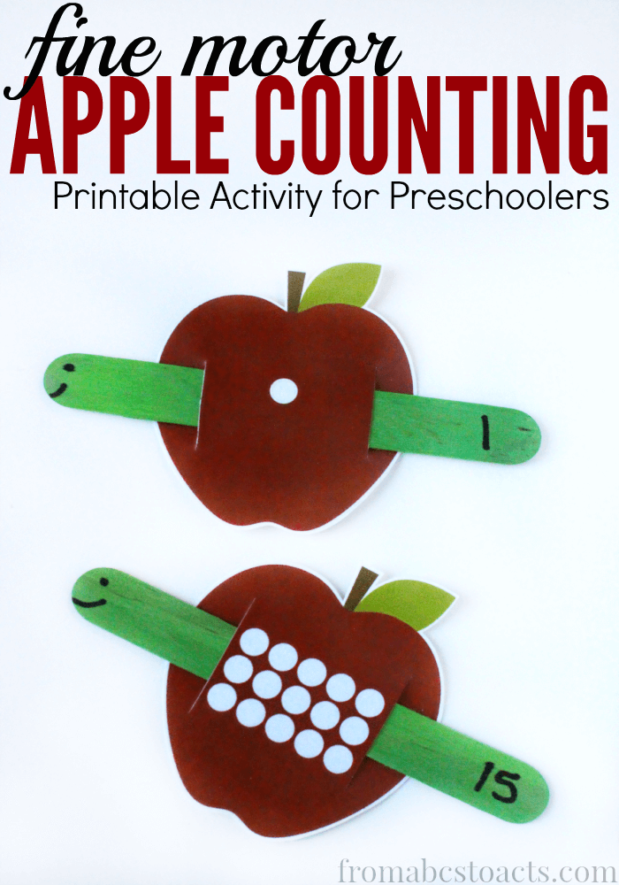 Apples Amp Worms Fall Fine Motor Counting For Preschoolers
