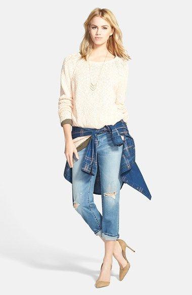 Hinge® Pullover Sweater, Treasure&Bond Denim Shirt & Boyfriend Jeans  available at #Nordstrom