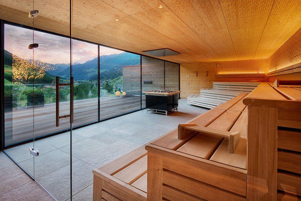 Panorama Sauna im Wellnessresort Alpenschlössl \ Linderhof im - schlichtes sauna design holz seeblick