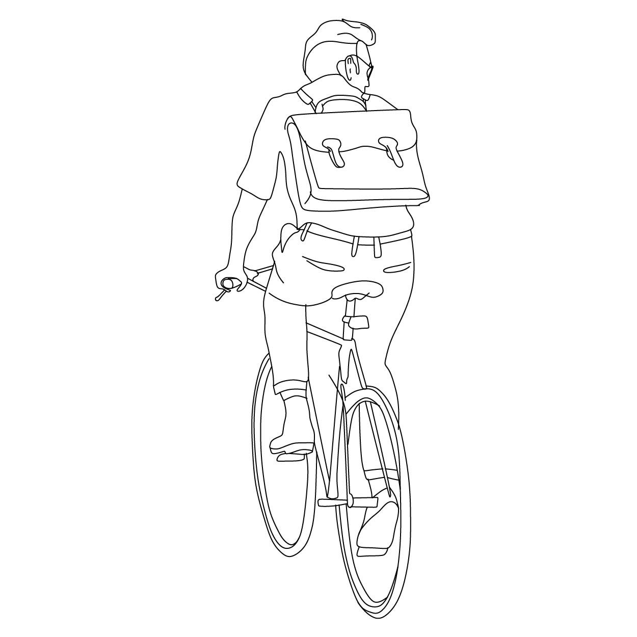 Man riding bike | Photoshop brushes | People illustration