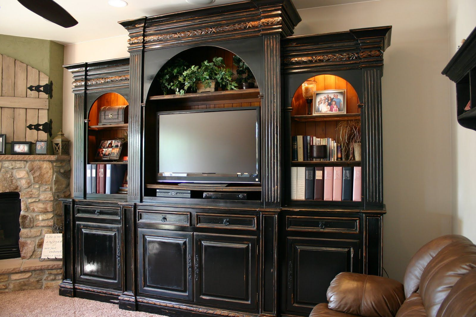 Fascintng Black Entertainment Center Cabinets in Family ...