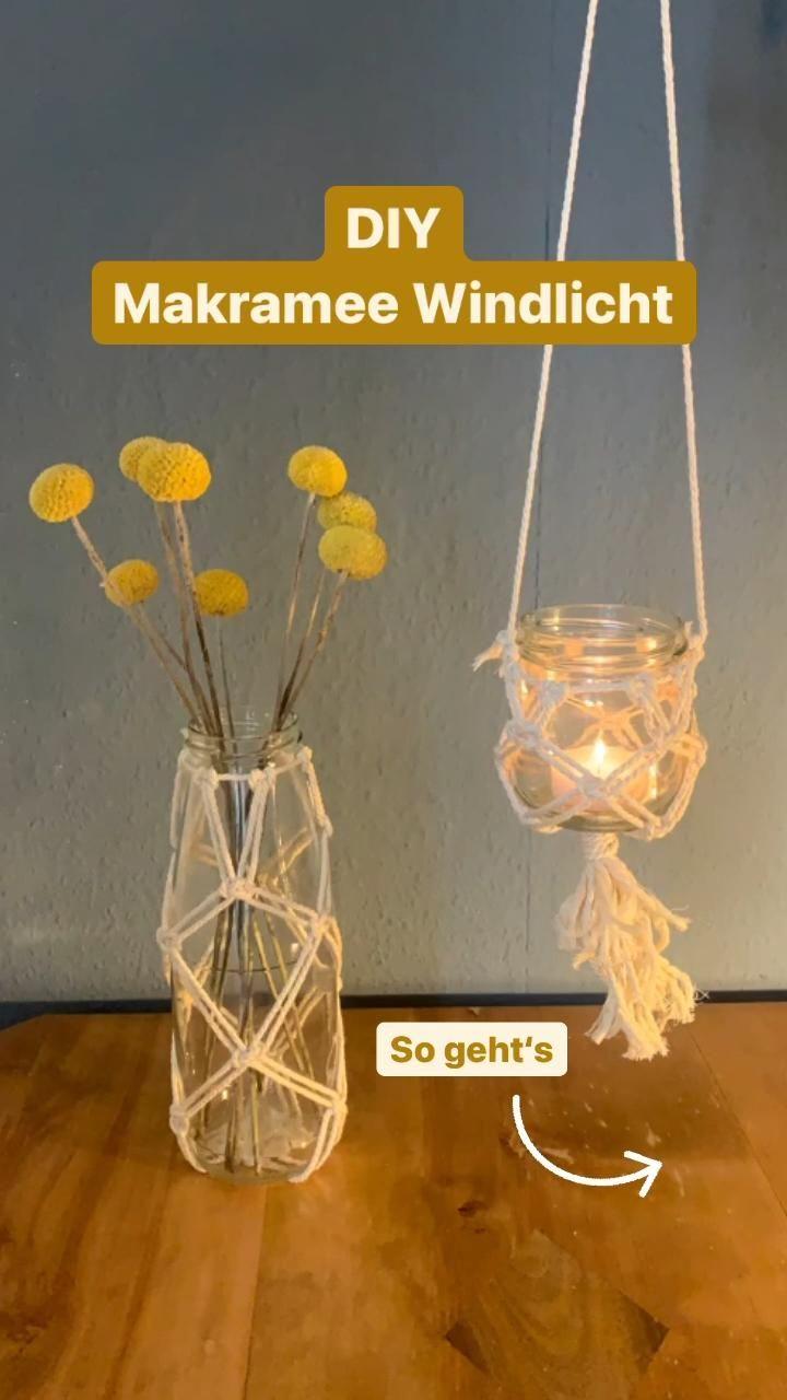 DIY Makramee Windlicht - Upcycling aus leeren Gläsern