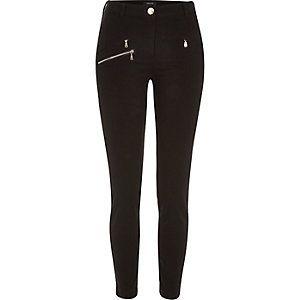 Black one zip skinny trousers