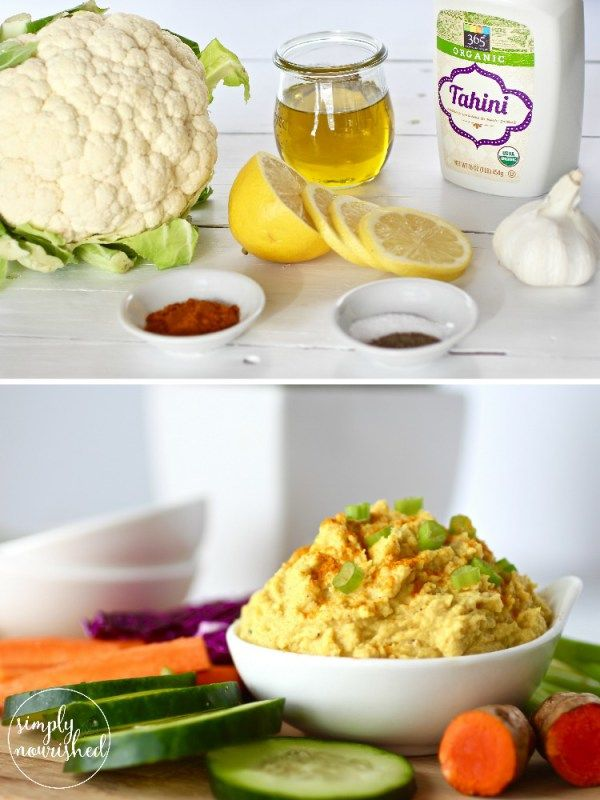 A recipe inspired by a favorite curry flavored hummus. This Cauliflower Curry Hummus is bean-free, whole-30 friendly and perfect for dipping veggies into. | Paleo | Whole 30 | Vegan | Grain-free | http://simplynourishedrecipes.com/cauliflower-curry-hummus/