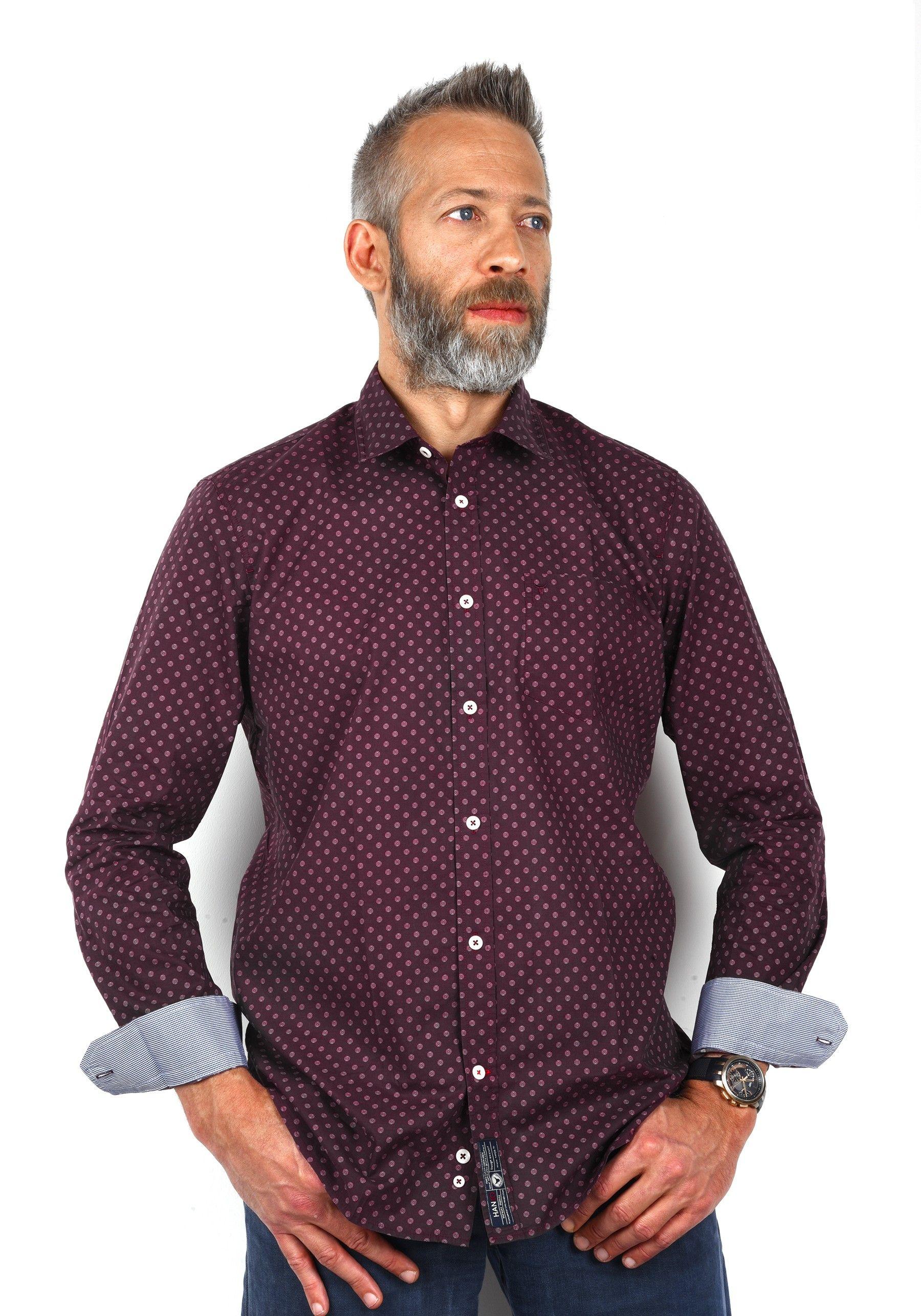 chemise mode homme rouge bordeaux motif imprim pois. Black Bedroom Furniture Sets. Home Design Ideas