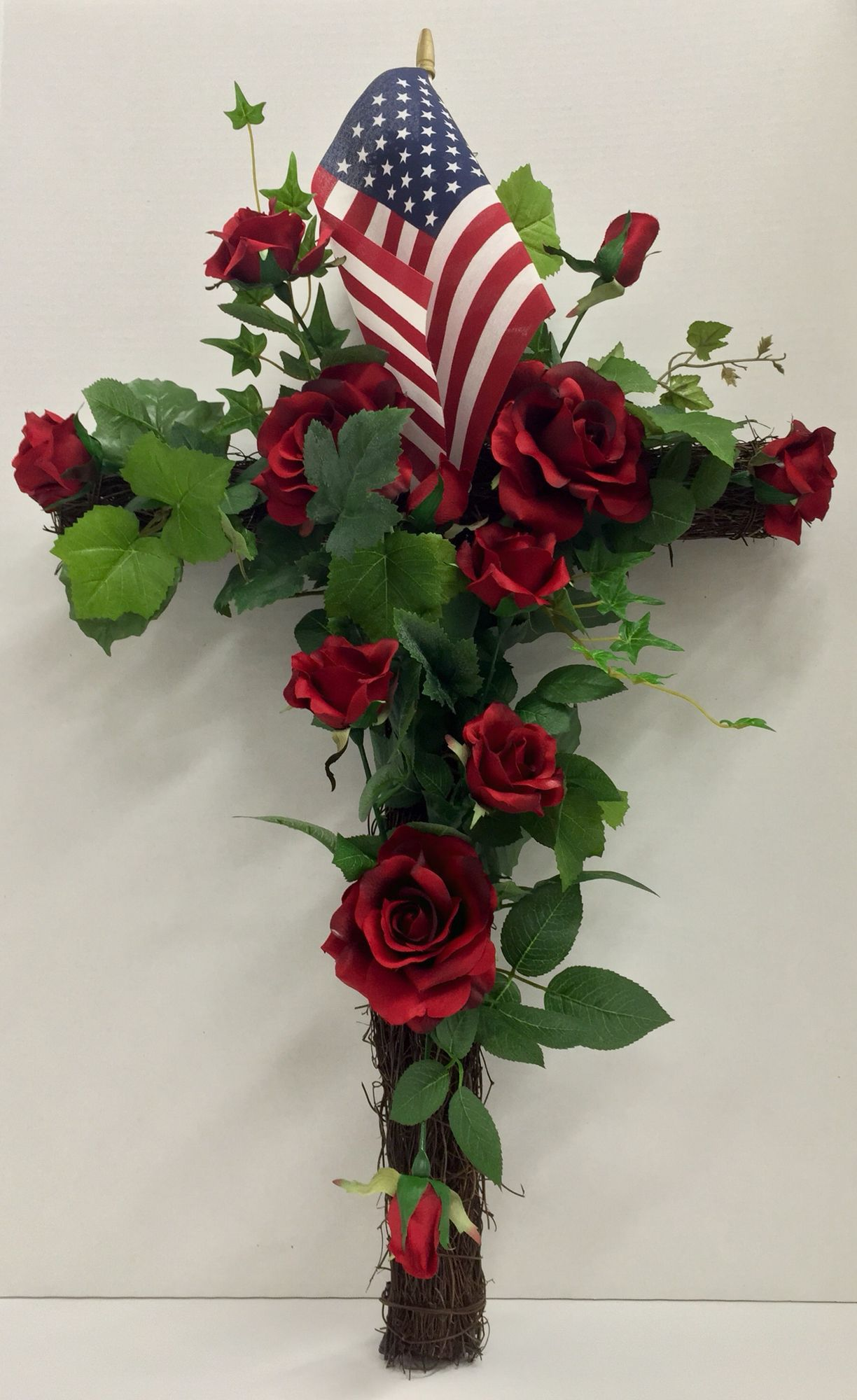 Happy Memorial Day Weekend Faux Floral Grapevine Cross With Dutch Rose Sweetheart Roses And