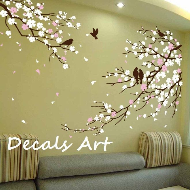 Captivating Cherry Blossom Branches With Birds Decal Vinyl Wall Sticker Wall Decal Tree Decals  Wall Murals Art Nursery Wall Decal Floral Blossoms Nature Part 19