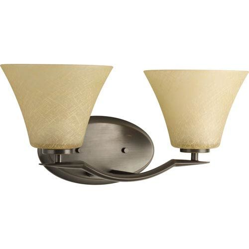 Photo of Progress Lighting P2005-20 Bravo two-light bathroom mixer with umber-linen glass shade in antique bronze, contemporary and modern | Bellacor