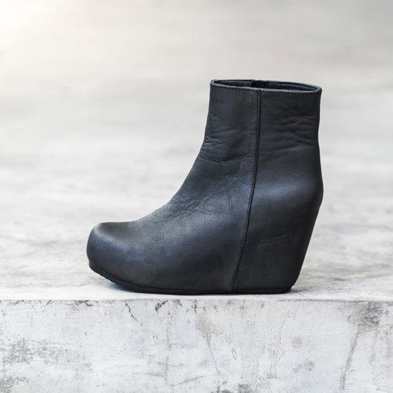 0e564881445 WOMEN S WEDGE BOOT - Women s Platform Wedge shoe - Handmade Black Leather  Boots - Heathen Clothing -