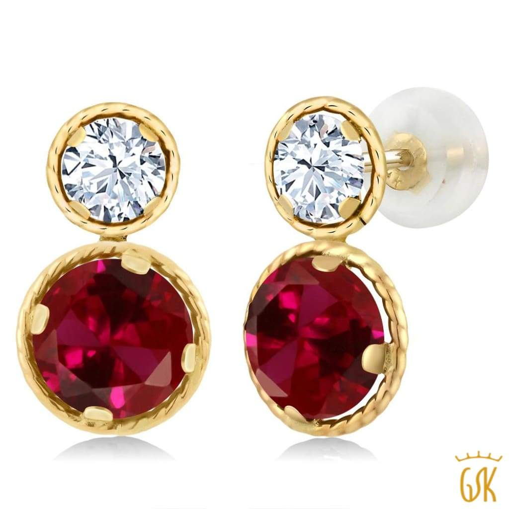 2.10 Ct Round Red Ruby 14K Yellow Gold 4-prong Stud Earrings 6mm