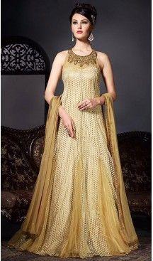 8c90cfafda20 Tan Brown Color Net Fabric Designer Ethnic Readymade Gowns   FH450770711 # heenastyle , #salwar , #kameez , #suits , #anarkali , #party, #wear ,  #panjabi ...