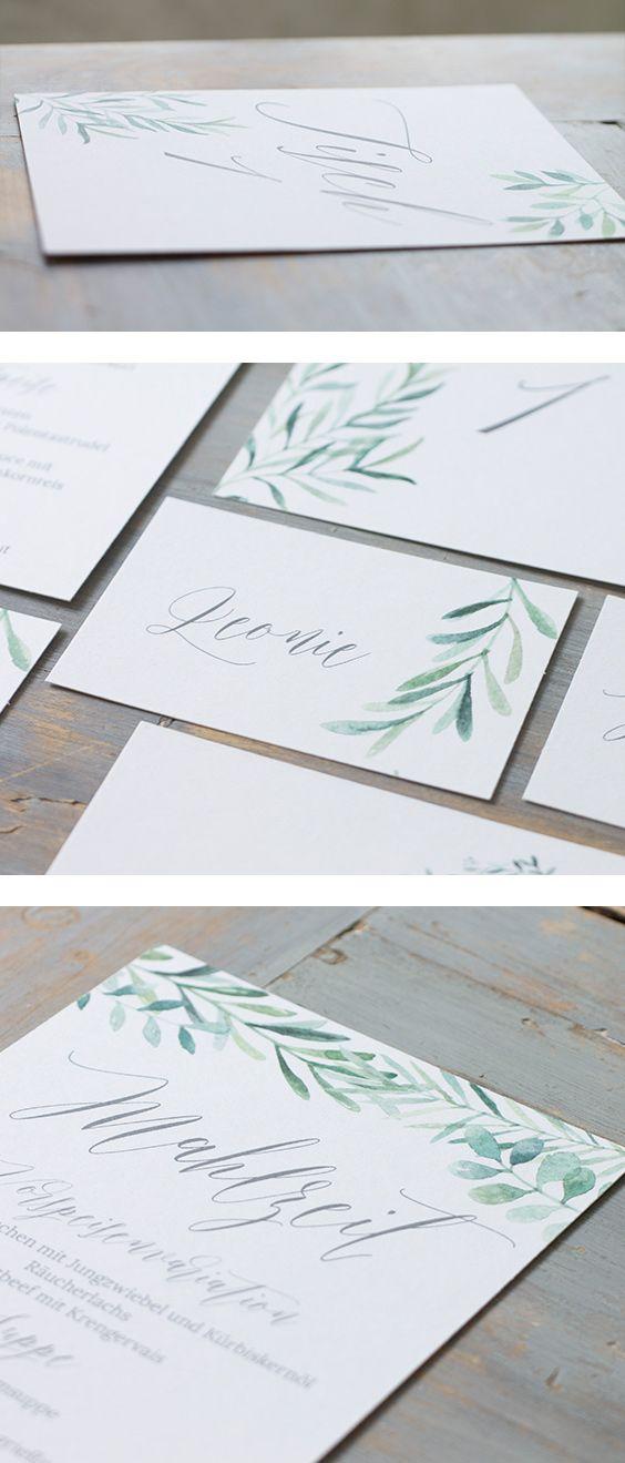 Einladungskarten Papeterie Leaves Green Karten Hochzeitskarten