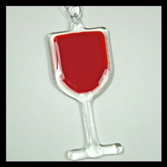 Glassworks Northwest Fused Glass Art Ornament Red Wine