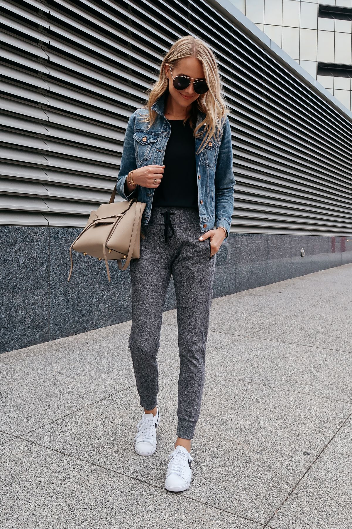 Blonde Woman Wearing Jcrew Denim Jacket Black Tank Nordstrom Anniversary Sale Grey Joggers Nike Blazer Sneakers Celi Athleisure Outfits Fashion Jackson Fashion [ 1800 x 1200 Pixel ]